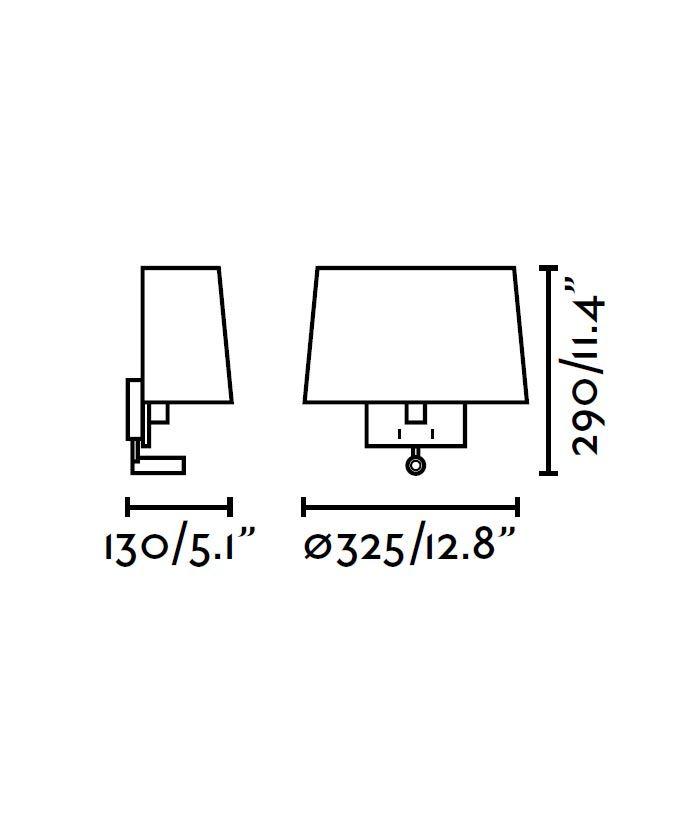 Aplique con lector LED blanco VOLTA medidas