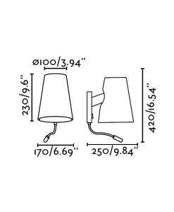 Aplique con lector LED LUPE cromo medidas