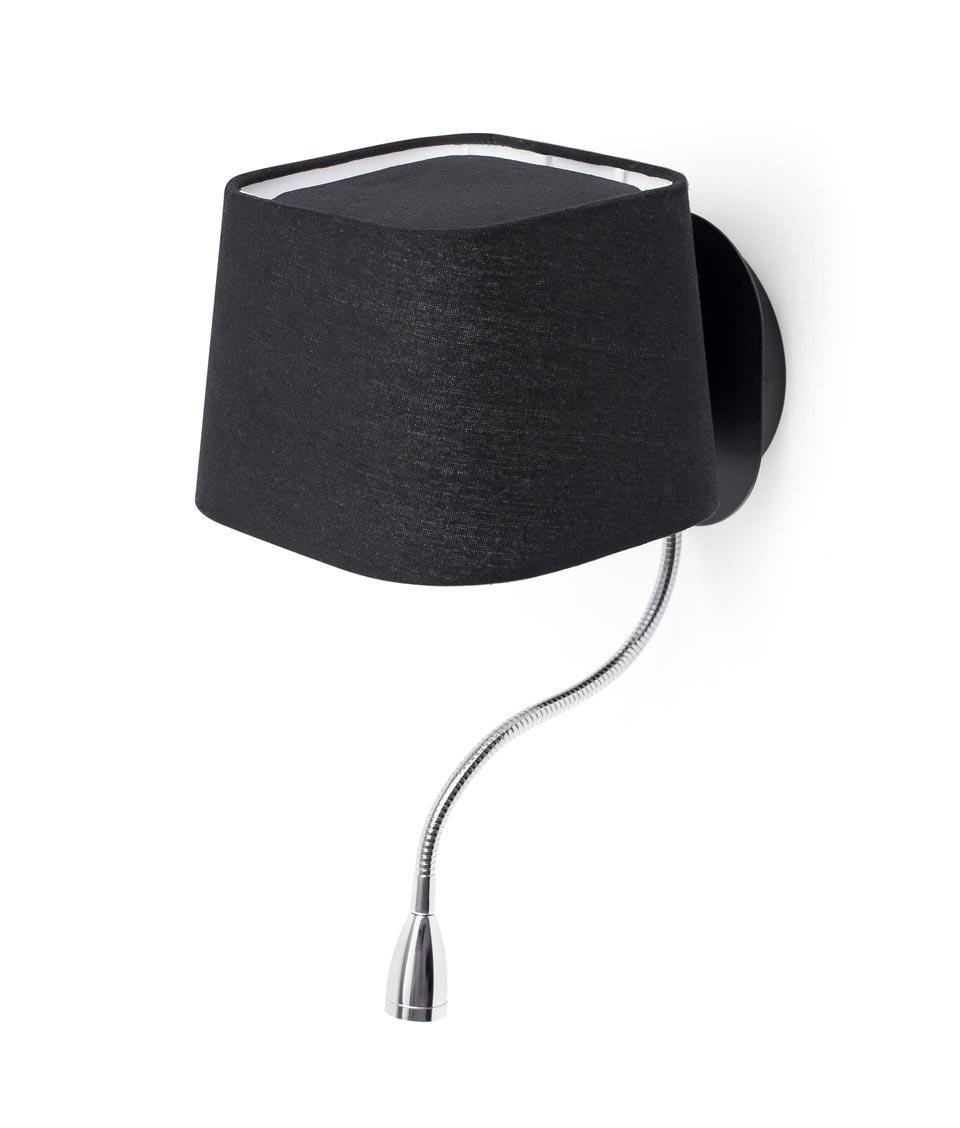 Aplique con lector LED negro SWEET detalle