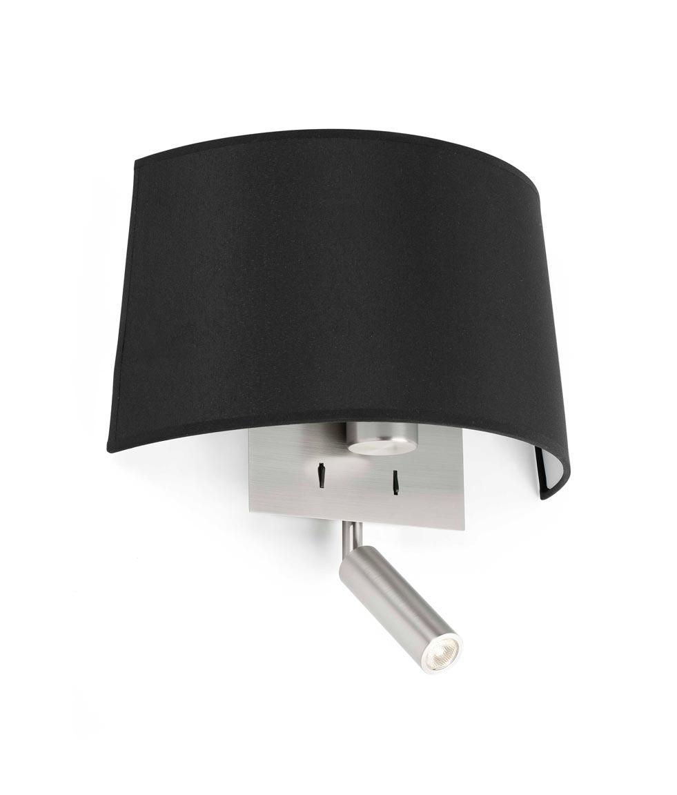 Aplique con lector LED negro VOLTA