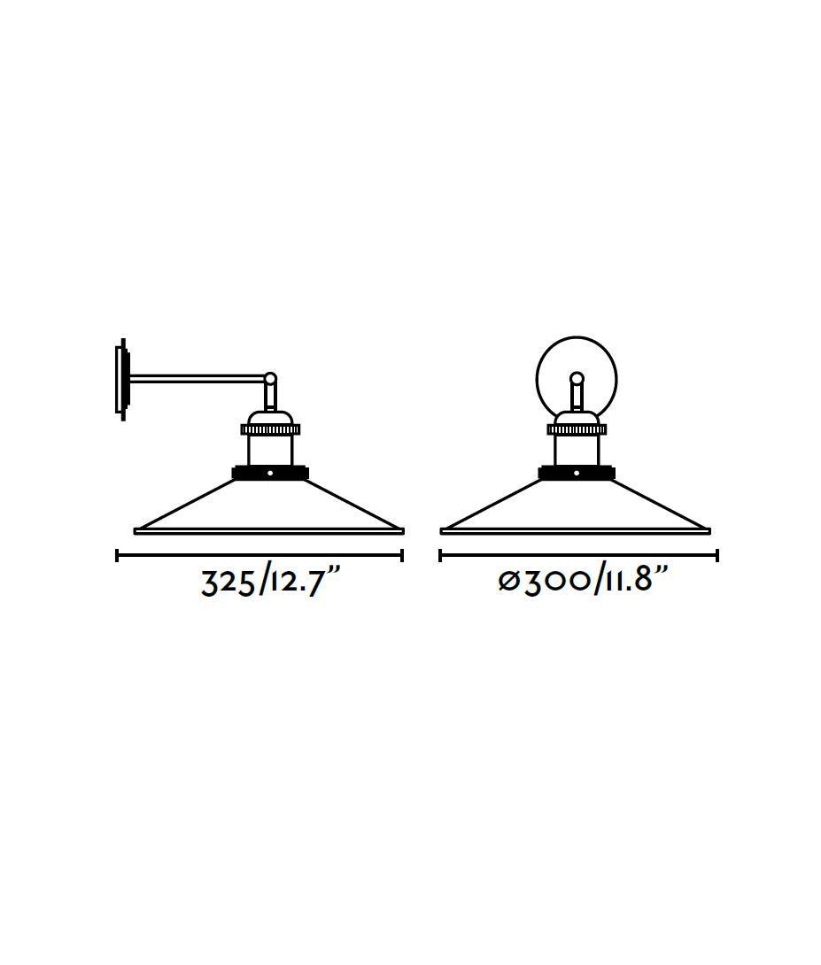 Lámpara aplique negra MARLIN medidas