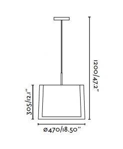 Lámpara colgante 3 luces SABA níquel mate medidas