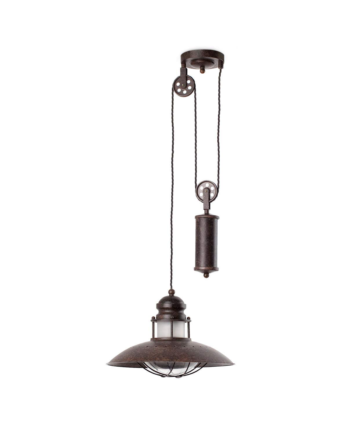 Lámpara colgante con peso WINCH marrón