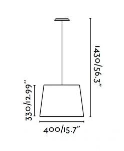 Lámpara colgante níquel y blanco SWEET medidas