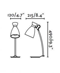Lámpara de mesa beige RETRO medidas