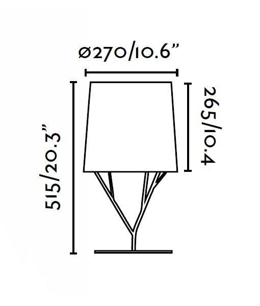 Lámpara de mesa blanca TREE medidas