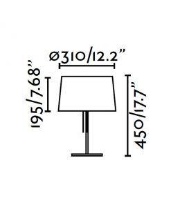 Lámpara de mesa blanca VOLTA medidas