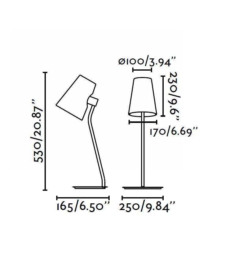 Lámpara de mesa LUPE cromo medidas