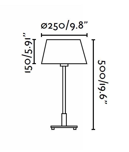 Lámpara de mesa MITIC beige medidas
