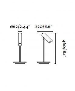 Lámpara de mesa negra LINK medidas