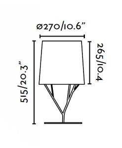 Lámpara de mesa negra TREE medidas