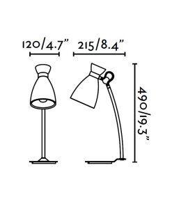 Lámpara de mesa roja RETRO medidas