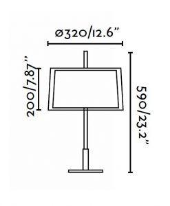 Lámpara de mesa SABA níquel mate 2 medidas