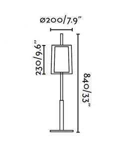 Lámpara de mesa SABA níquel mate medidas