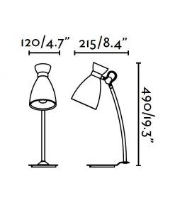 Lámpara de mesa verde RETRO medidas