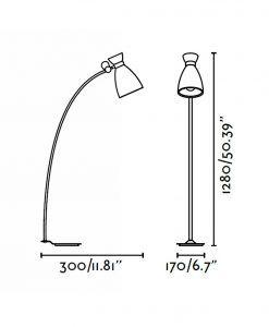 Lámpara de pie beige RETRO medidas