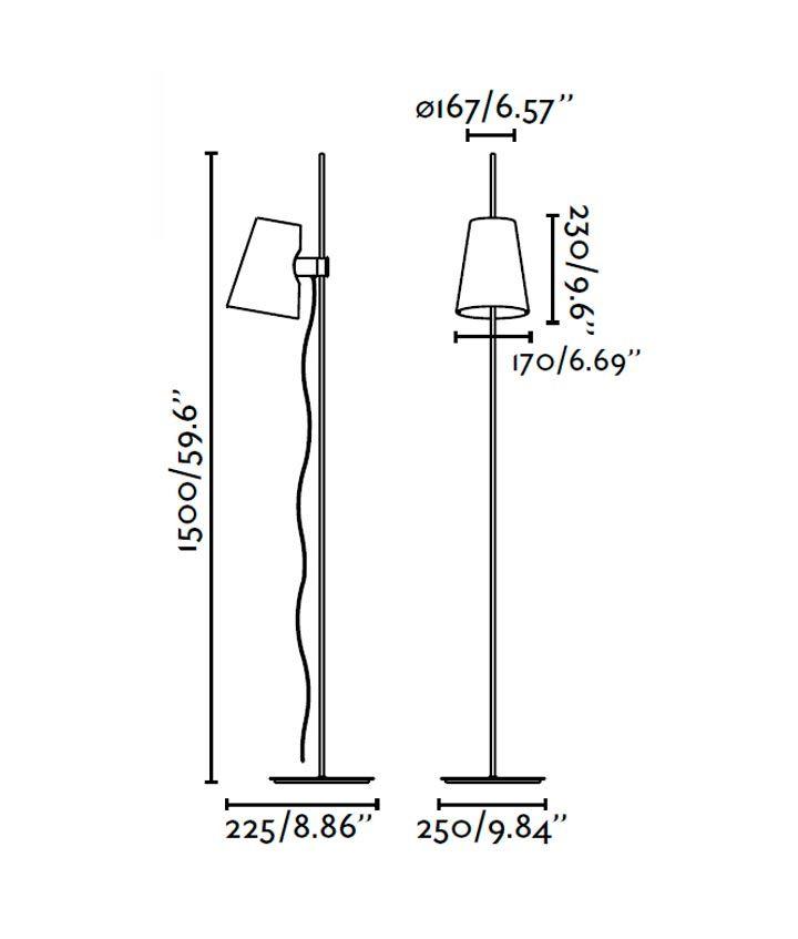 Lámpara de pie LUPE cromo medidas