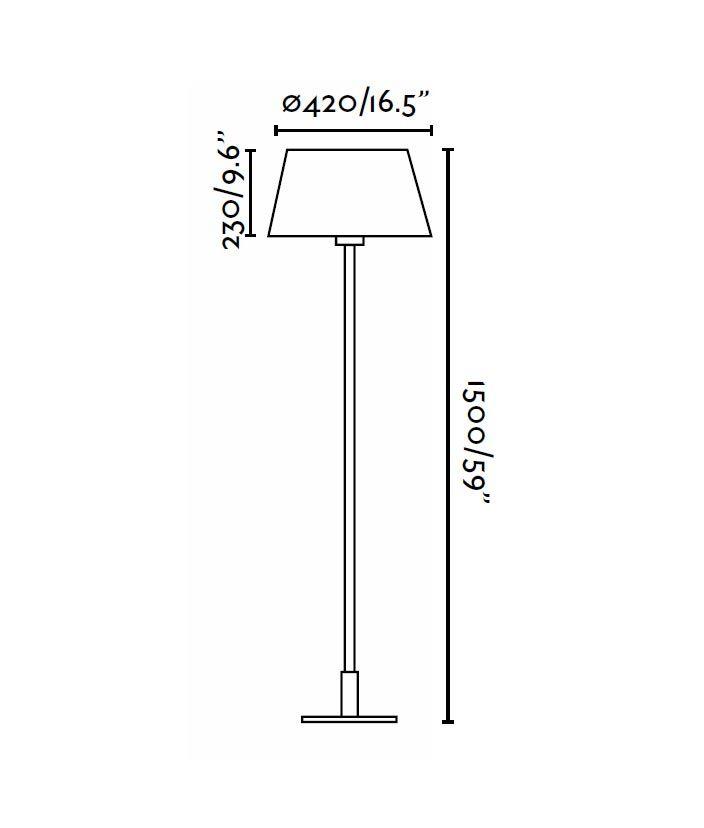 Lámpara de pie MITIC beige medidas