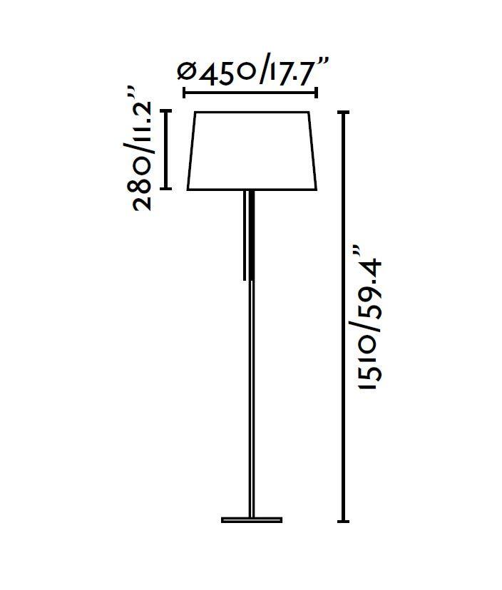 Lámpara de pie negra VOLTA medidas