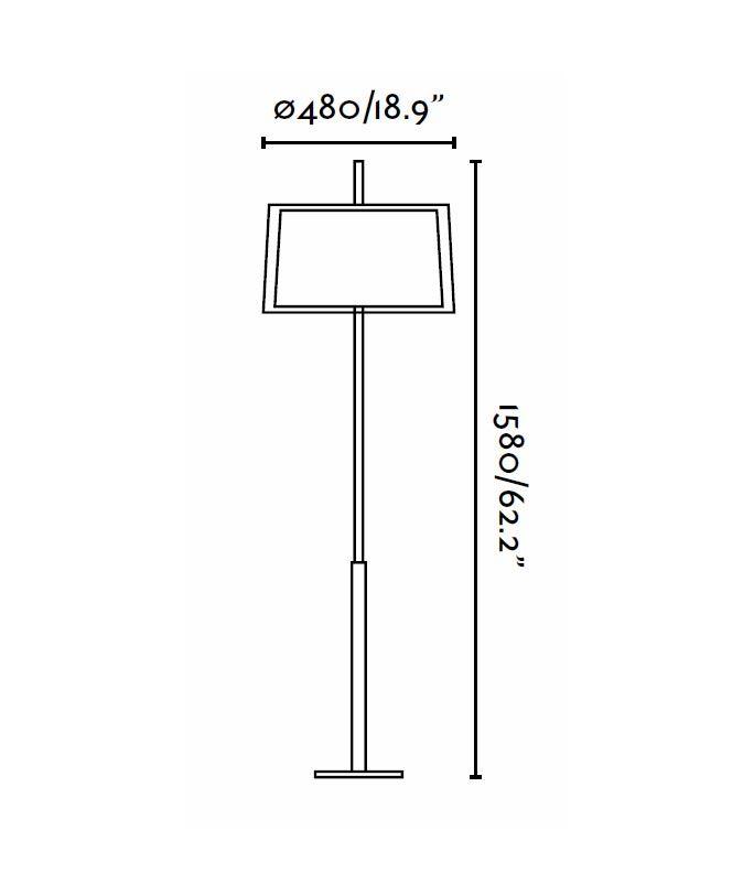 Lámpara de pie níquel mate SABA medidas