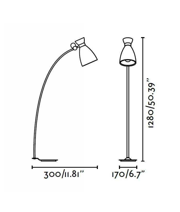 Lámpara de pie verde RETRO medidas