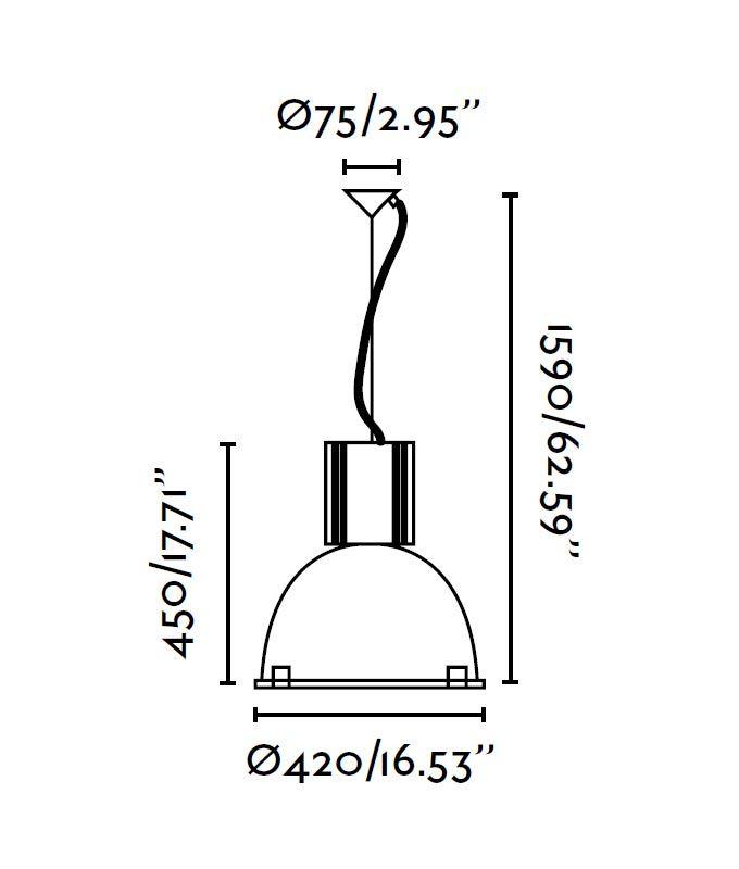 Lámpara de techo aluminio OLOE medidas