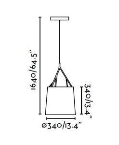 Lámpara de techo blanca TREE medidas