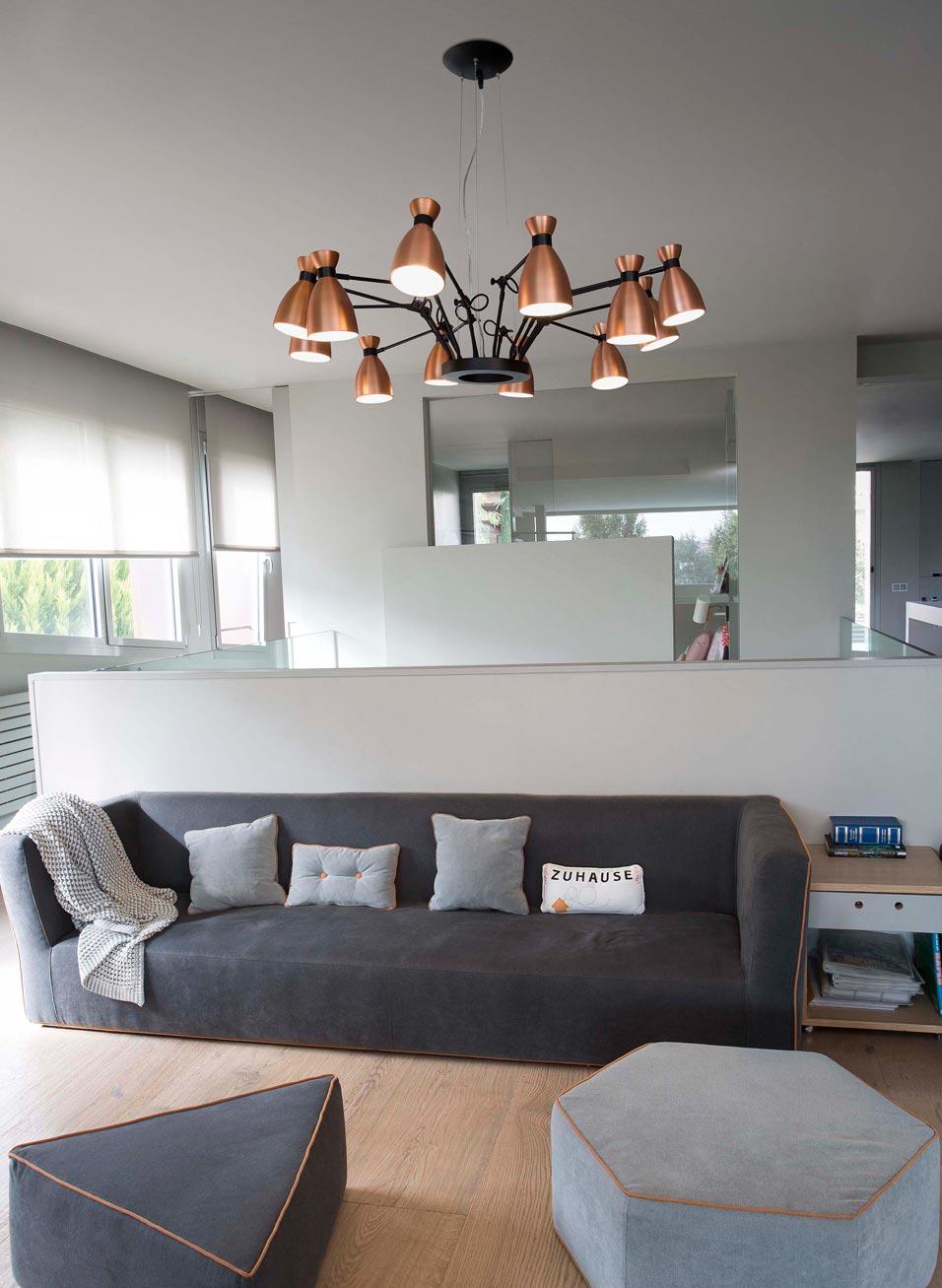 Lámpara de techo cobre 12 luces RETRO ambiente