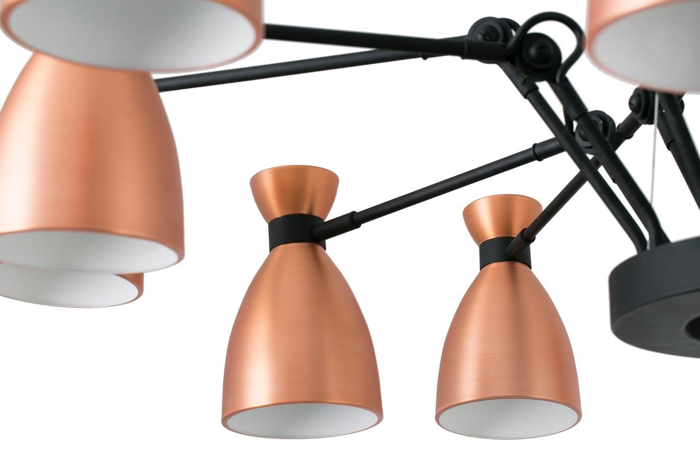 Lámpara de techo cobre 12 luces RETRO detalle