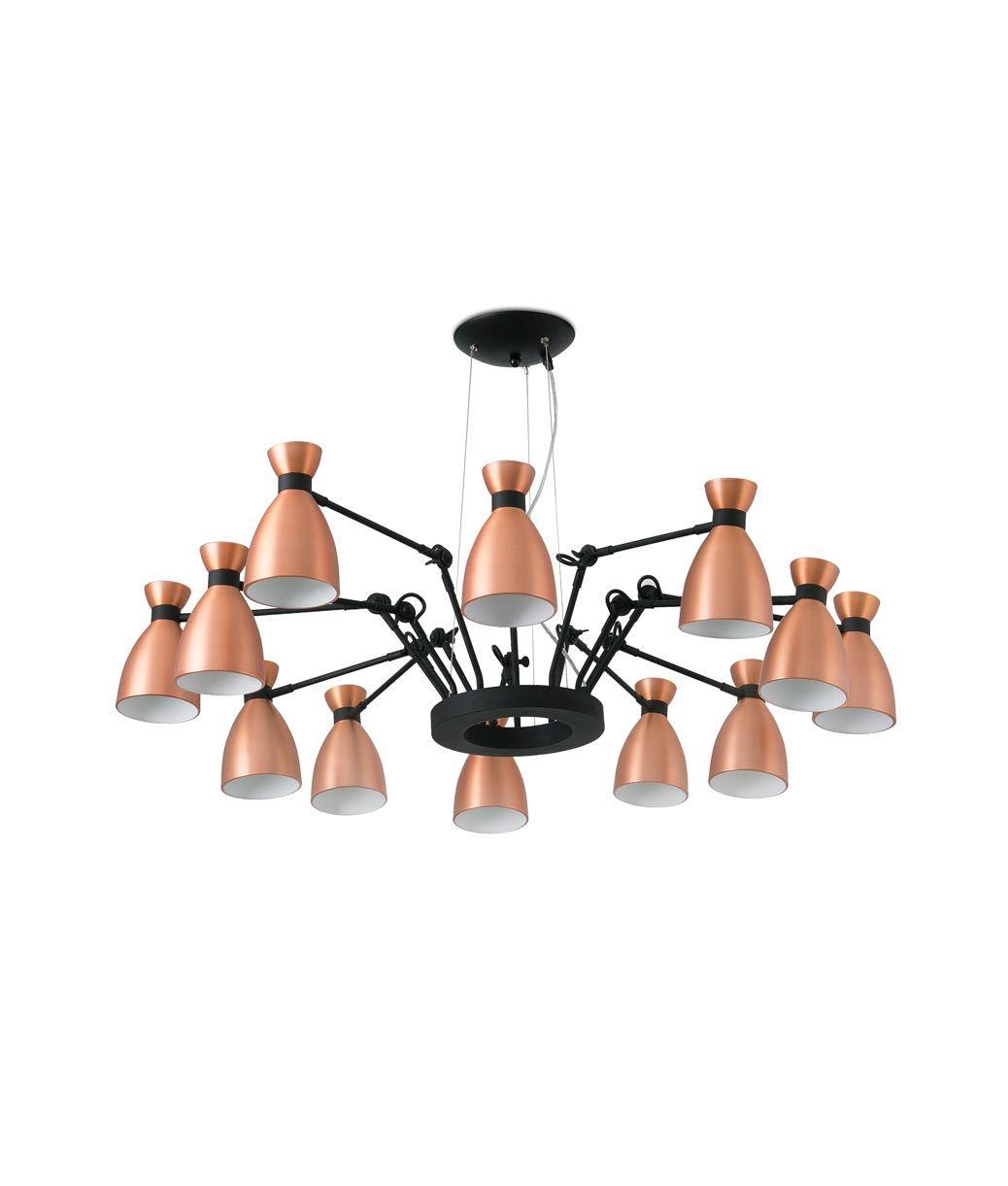 Lámpara de techo cobre 12 luces RETRO