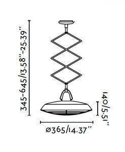 Lámpara de techo extensible LED blanco PLEC medidas
