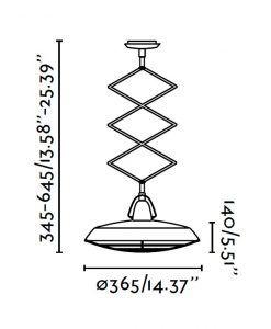 Lámpara de techo extensible LED marrón PLEC medidas