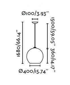 Lámpara de techo grande MALI blanco 186 cm medidas