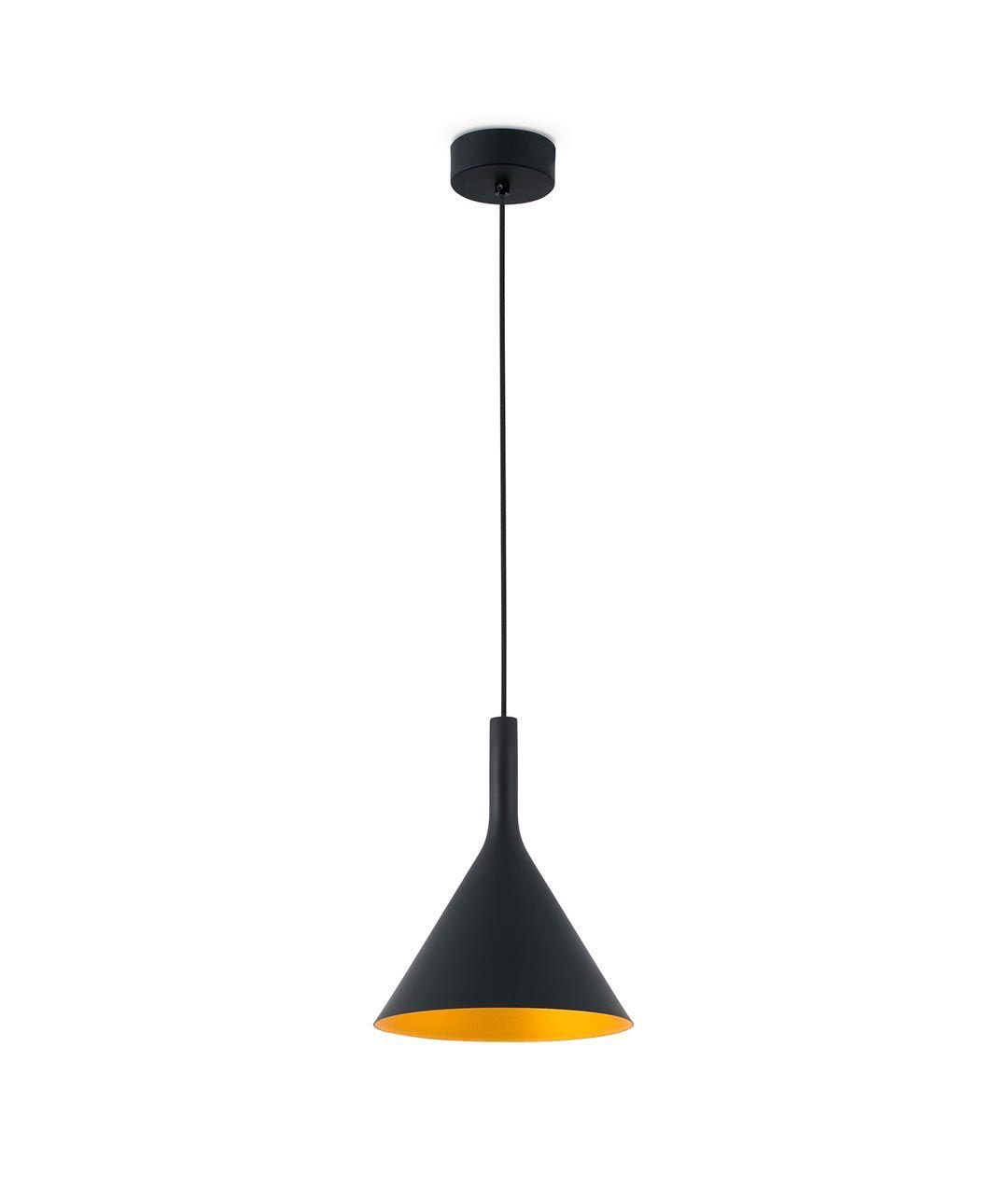 Lámpara de techo LED grande PAM negro y oro