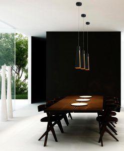 Lámpara de techo LED negra y oro PLUMA ambiente