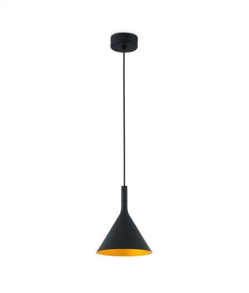 Lámpara de techo pequeña LED PAM negro y oro