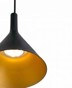 Lámpara de techo LED pequeña PAM negro y oro detalle
