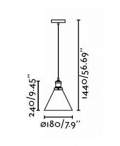 Lámpara de techo LIZ transparente medidas