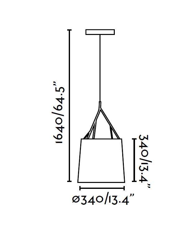 Lámpara de techo negra TREE medidas