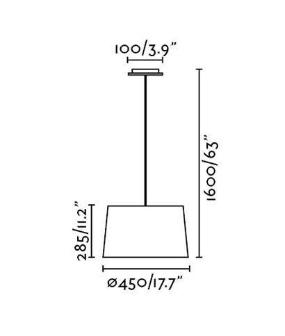 Lámpara de techo negra VOLTA medidas