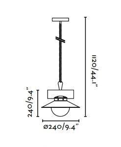Lámpara de techo NUDOS marrón óxido medidas
