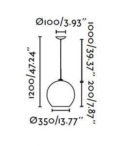 Lámpara de techo pequeña MALI blanco 120 cm medidas