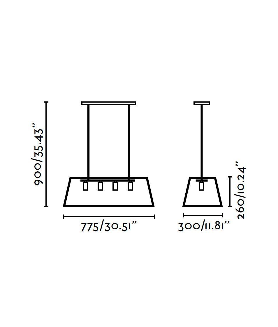 Lámpara telescópica ROSE negra medidas