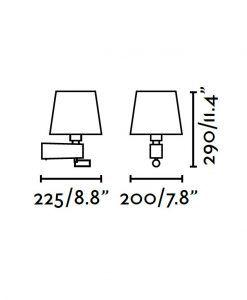 Medidas aplique blanco con lector LED ROOM
