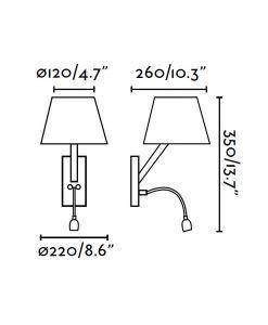 Medidas aplique con lector LED blanco MOMA