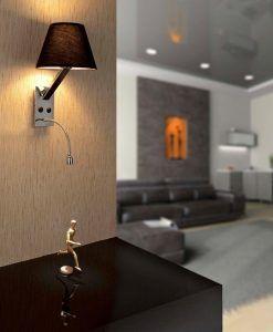 Aplique con lector LED negro MOMA ambiente