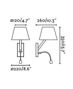 Medidas aplique con lector LED negro MOMA