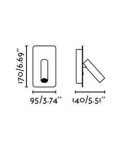 Medidas aplique LED blanco SUAU