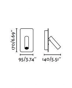 Medidas aplique LED gris SUAU