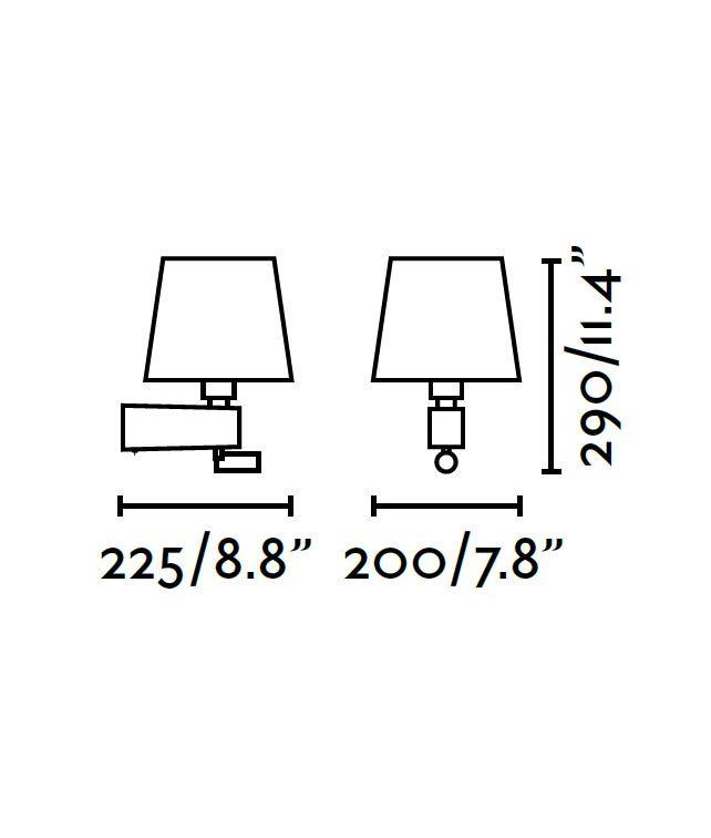Medidas aplique negro con lector LED ROOM